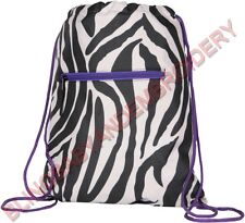 Drawstring Backpack Cinch Pack Zebra Purple
