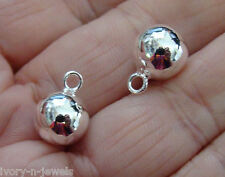 10mm Seemless Sterling Silver Ball INTERCHANGEABLE Earring Charms ONE PAIR