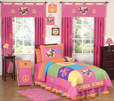 Sweet Jojo Designs Cheap Groovy Pink Peace Sign Kids Girl Teen Twin Bedding Set