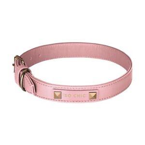 Pink Dog Collar - Premium Genuine Leather - Gold Foil SO CHIC Signature Embossed