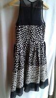 TAYLOR Brand Women's Black White Polka Dot Dress Size 8 Dillard's