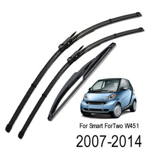 For Smart ForTwo W451 Coupe 2007-2014 Front Rear Windshield Wiper Blades Set