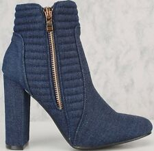 Denim Double Side Zip Wrapped Block Chunky High Heel Round Closed Toe Booties