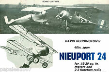 "Model Airplane Plans (RC): NIEUPORT 24 Scale 40"" Biplane for .15-.20ci Engines"