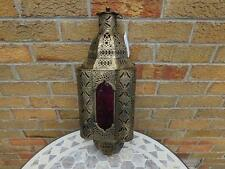 Large Hanging Moroccan Style Brushed Metal Candle Lantern with Lattice Design.