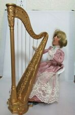 Byers Choice Victorian Woman Playing Harp Sitting Wicker Chair Pink Dress