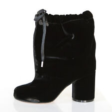 MAISON MARTIN MARGIELA split toe shoes black velvet high heel tabi boots 36 NEW