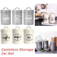 Metal Coffee Tea Sugar Kitchen Iron Canisters Storage Jar Cup Bottle 3 Pcs Set