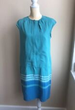 Magaschoni Womens Silk Spring sheath Dress Blue Green Striped Sz 10 Lined