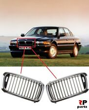 FOR BMW 7 SERIES 1994-1998 E38 NEW FRONT BUMPER CENTER GRILL PAIR BLACK/CHROME