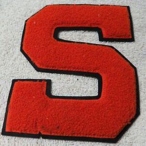 """Vintage Varsity Letter Letterman Jacket Patch """"S"""" Orange & Black"""