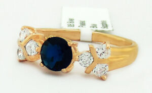 BLUE 1.18 Cts & WHITE SAPPHIRE RING 14k ROSE GOLD PLATED* New With Tag *Size 5.5