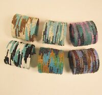 6 PC Handmade Bali Beaded Blue Color Block Tribal Cuff Bracelet WHOLESALE LOT