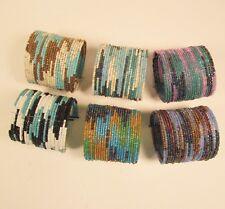 Block Tribal Cuff Bracelet Wholesale Lot 6 Pc Handmade Bali Beaded Blue Color