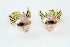 585 Gold Ohrstecker 1 Paar 14 Karat Gold Herz  mit Flügel 6 mm  Zirkonia