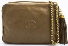 CHANEL FRINGE TASCHE CHAIN SHOULDER BAG SCHULTERTASCHE MATELASSE BEIGE 23x16cm