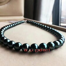 "AAAAA 18""10-11mm REAL natural ROUND TAHITIAN black pearl necklace 14K *TAHITI"