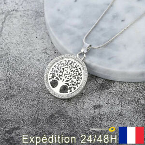 Pendentif Collier bijoux fantaisie pour femme arbre de vie plante argent