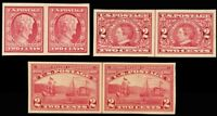 368//373, Mint XF OG NH Imperforate Pairs Cat $210.00 - Stuart Katz