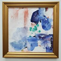 "Abstract Acrylic Art Painting Original, 16""x16"" Square Frame Blue Gold Signed"