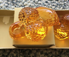 Williams Sonoma Amber Glass Acorn Candle Holders Fall Taper Thanksgiving Decor