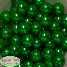 20mm Christmas Green Faux Pearl Bubblegum Beads 20 Chunky Jewelry Necklace