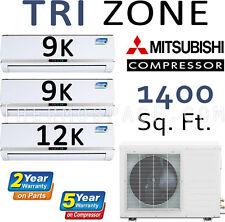 30000 BTU Tri Zone Ductless Mini Split Air Conditioner, Heat Pump: 9k + 9k + 12k