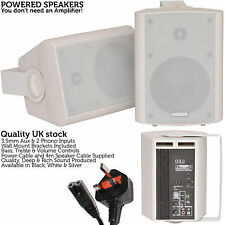 Pair of White 60W Powered/Active Wall Speakers–Satellite Stereo Home Cinema HiFi