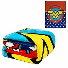 DC Comics Wonder Woman Shield Royal Queen Size FLANNEL Blanket Faux Mink