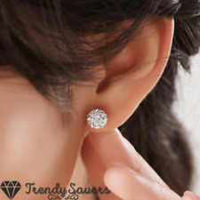 925 Sterling Silver White Ball Bead Stud Earrings Made of Swarovski Crystals 8MM