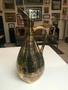"SUPERB VINTAGE LARGE RARE 16 1/4"" Stangl Pottery BLACK GOLD PITCHER Ewer EXCLLNT"