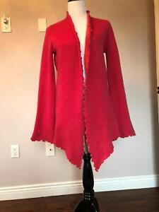 EUC CASMARI Hand Loomed Rose Cashmere Cardigan SZ L  Made in USA