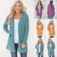 Women's Cardigan Top Fleece Fur Sweater Jumper Jacket Winter Warm Outerwear Coat