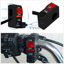 1X 5V 2A Motorcycle Single USB Charging Headlight Switch Red LED Indicator Light