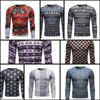 Winter Warm Crew Neck T-shirt Tops Slim Fit Floral Men's Long Sleeve Tee Casual