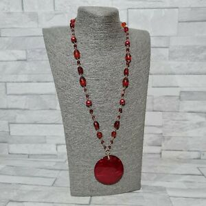 STATEMENT Necklace Long Red Glass & Plastic Beads Round Shell Pendant Jewellery