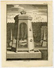 Antique Print-BEEHIVE-BEES-HONEY-Chomel-1743