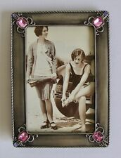Metal Picture Frame Art Nouveau Style Pewter Silver Rose Easel Back 4x6 Photo