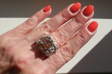 "NEW ""designer inspired"" Large Amber Topaz CZ Ring w.Pave Detail size 7"