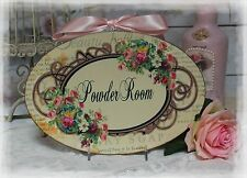 """Powder Room..."" Vintage ~ Shabby Chic Country Cottage style - Wall Decor Sign"