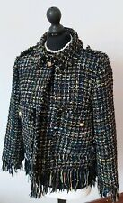 Womenens ZARA Tweed Boucle Frayed Biker Jacket Black Navy Multi Size 12