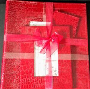 Red Photo Book Set Frame, Storage Envelope & Album Faux Croc/Alligator