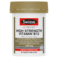 Swisse Ultiboost High Strength Vitamin B12 60 Tablets Energy Production Vegan