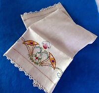 Beautiful Natural LINEN HAND TOWEL 26 x 17  Hand Embroidered Hand made lace edge