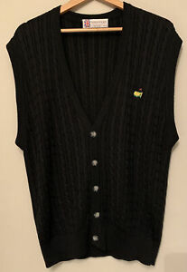 Masters Golf Silk Cardigan Sweater Vest Slazenger Vintage Black Size Large Exc