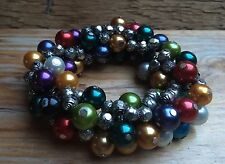 Pretty Rainbow Bead Bracelet/Pearl &  Silver Statement Look/Hippy/Boho/Chunky