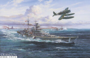 Naval art print Ltd ed German Battleship Bismarck crew signed by Simon Atack