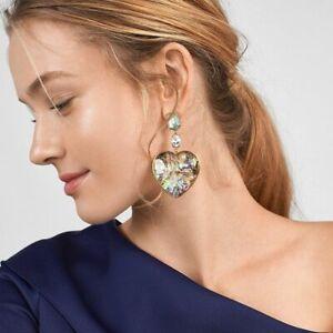Lovely Heart Dangle Earrings Women Crystal Green Abalone Shell Statement Jewelry