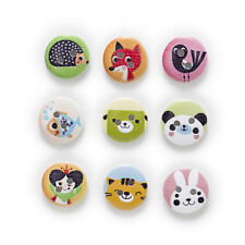 50pcs 2 Hole Animal Round Wood Buttons Home Sewing Scrapbooking Decor 15mm
