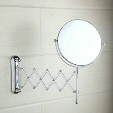 Bathroom Chrome Wall Mount Dual Sided Extendable 1x 3x Magnifying Make Up Mirror